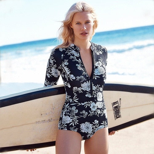 Long Sleeves One-Piece Black Floral Print Front Zipper Swimsuit