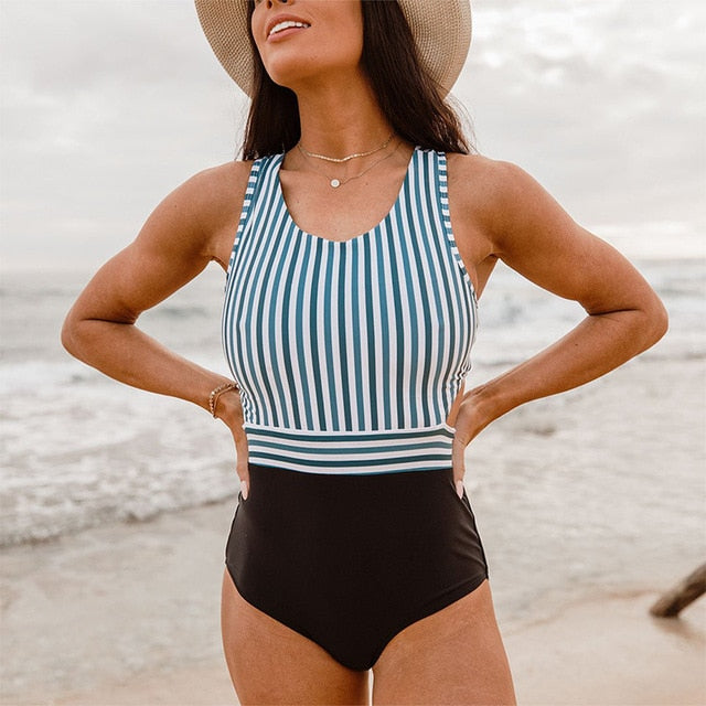 Sleeveless One-Piece Striped-Top Solid Black Bottoms Swimwear