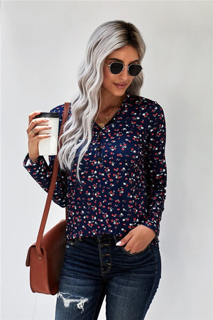 Blue Button V Neck Long Sleeve Floral Top