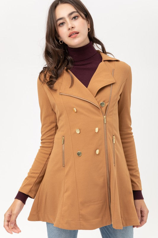 Mafer Double Breasted Zip Up Trench Coat Flared Dress
