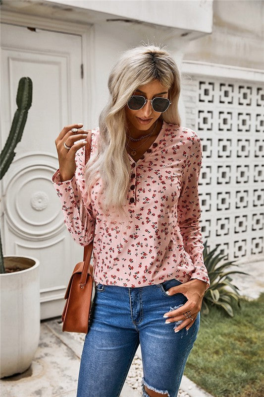 Pink Button V Neck Long Sleeve Floral Top
