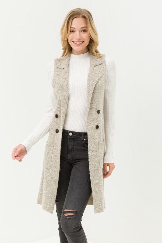 Sleeveless Long Cardigan Vest - Oatmeal