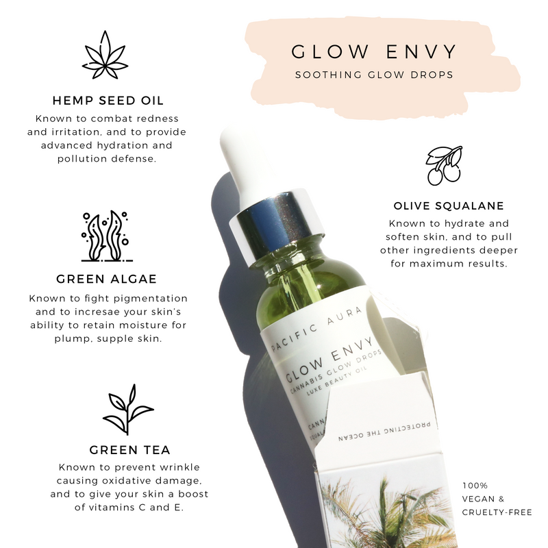 active ingredients glow envy cannabis sativa seed facial oil pacific aura botanicals