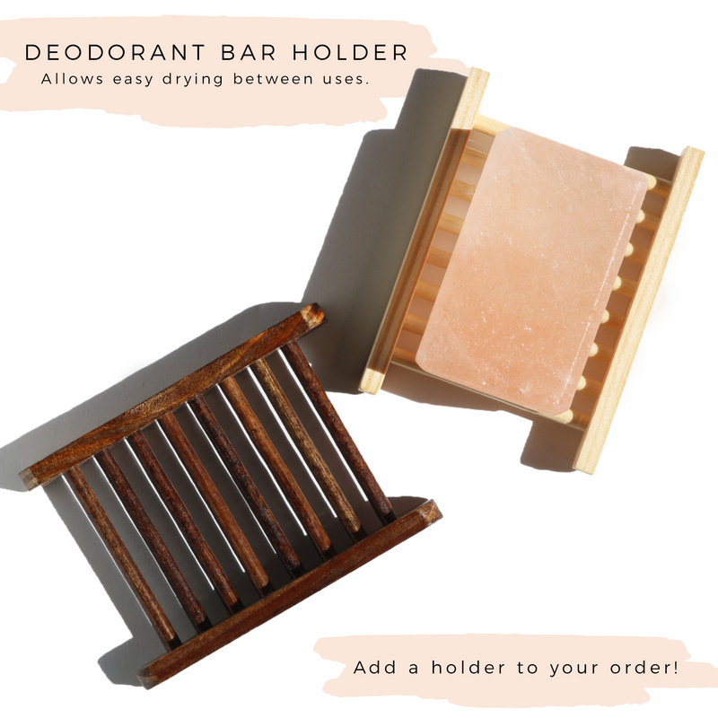100% pure himalayan pink salt deodorant bar with holder