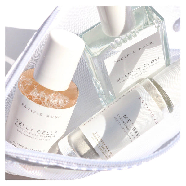 Clean Beauty Minis in white mesh skincare pouch: Cruelty-Free, Vegan, Premium Trial Sizes