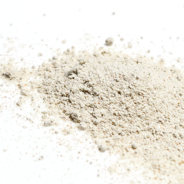 Rice and Bamboo Exfoliating Powder texture shot from pacific aura botanicals