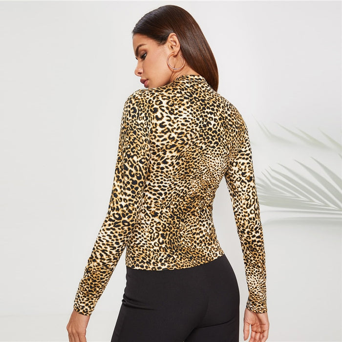 Elegant Mock Neck Leopard Top