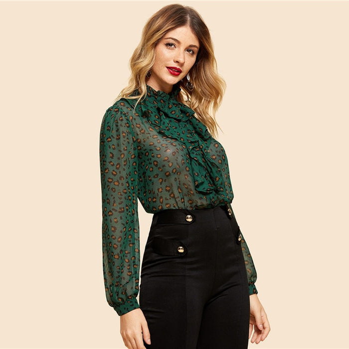 Green Button Up Leopard Blouse