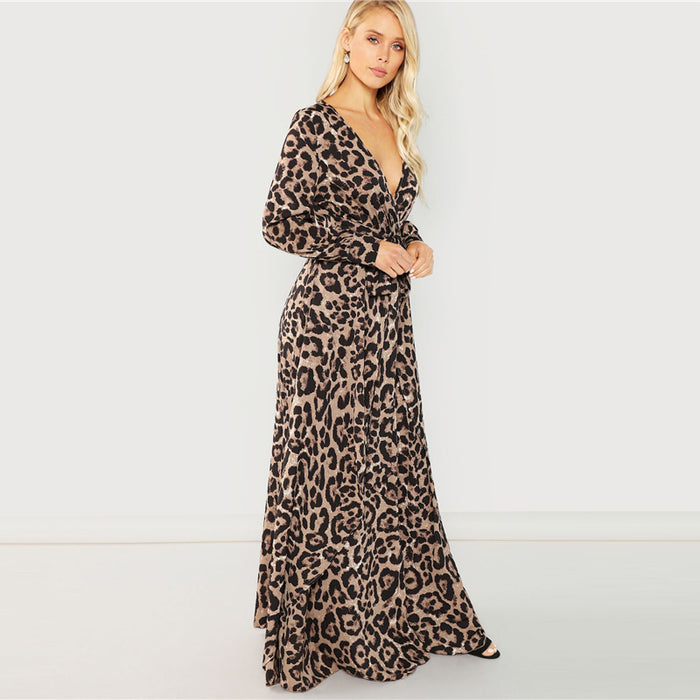 Sexy Leopard Overlap Maxi Dress