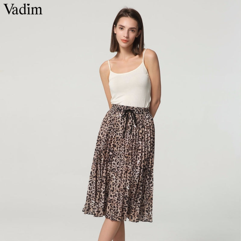 Stylish Leopard Pleated Skirt