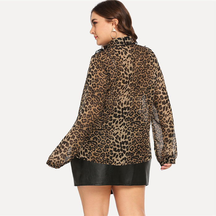 Plus Size Tie Neck Leopard Blouse