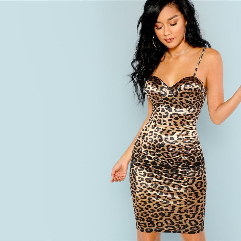Sexy Club Leopard  Slip Cami Dress