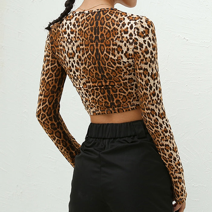 Leopard  Round Neck Top