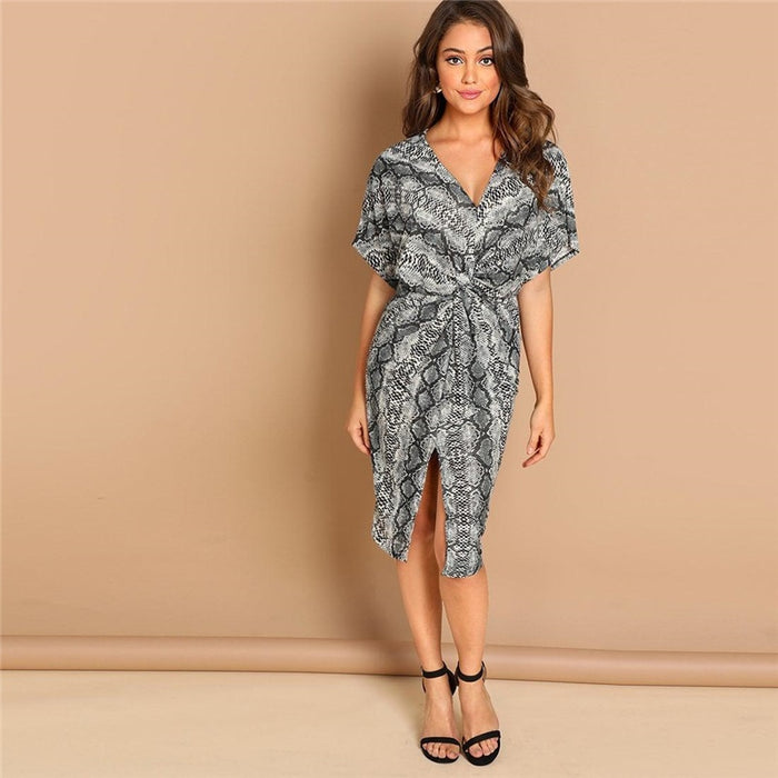 Twist Split Leopard Dress