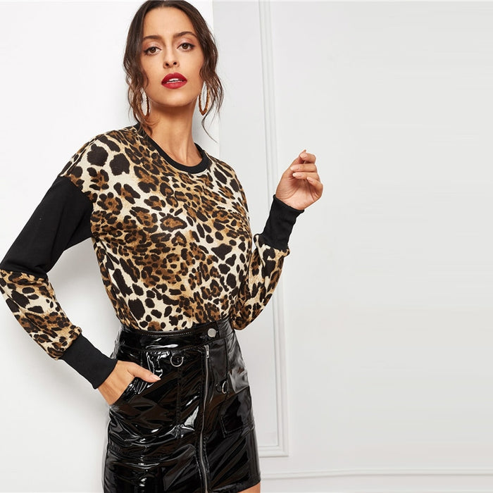 Modern Leopard Color-Block Round Neck Pullover