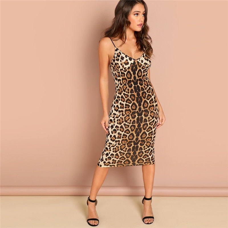 Sexy Party Backless Leopard Dress