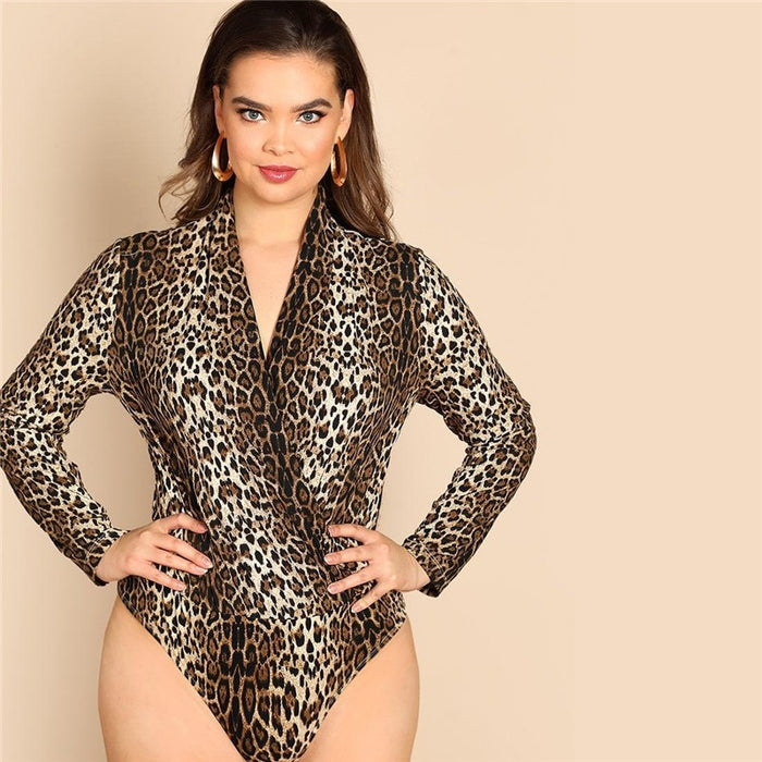 Plus Size V Neck Bodysuits
