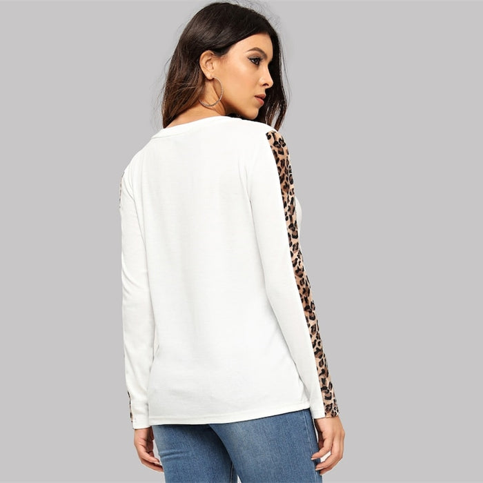 White V Neck Leopard T-shirt
