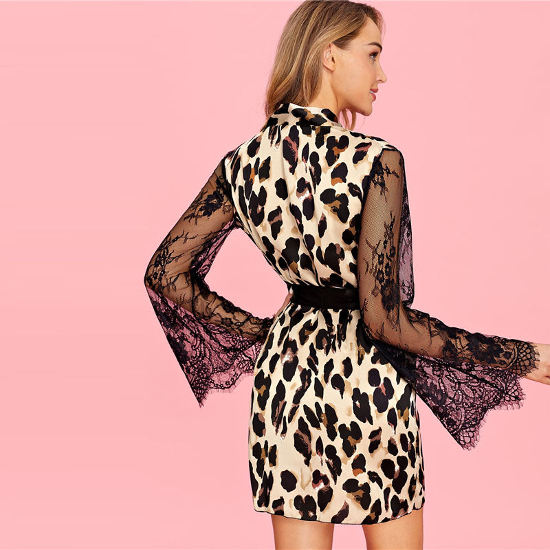 Belted Leopard Mini Robe