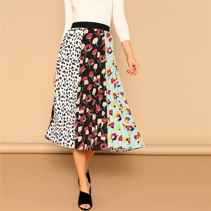 Leopard and Floral Skirt