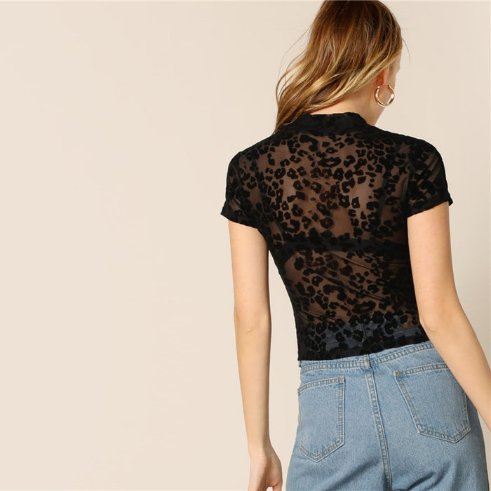 Black Leopard Mesh Sheer Tee