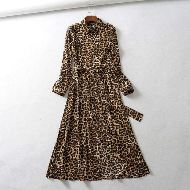 Vintage Leopard Ankle Length Dress