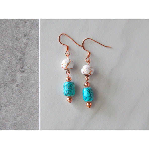 Crackled Copper and Turquoise Earrings
