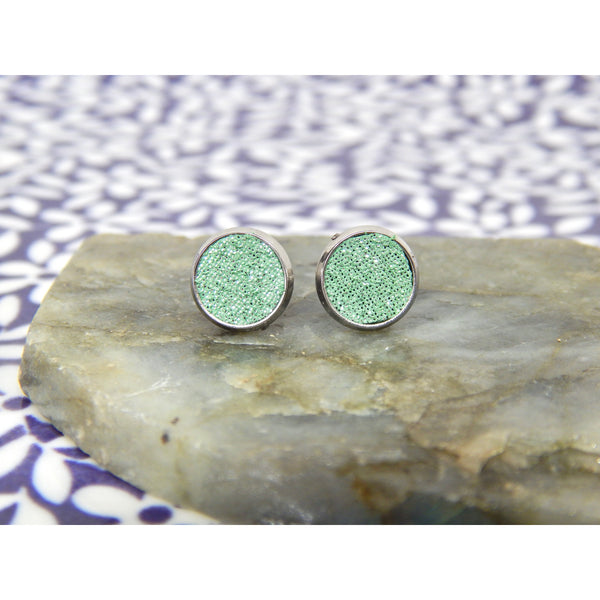 Mint Sparkle Leather 8mm Stud Earrings