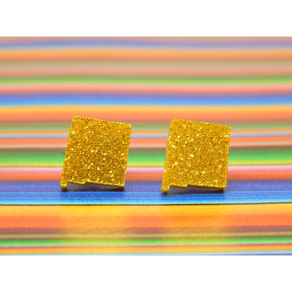 Gold Glitter New Mexico Stud Earrings