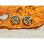Gold Sparkle 8mm Leather Bezel Stud Earrings