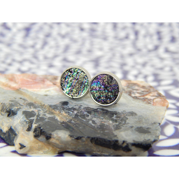 Galaxy Leather 8mm Stud Earrings