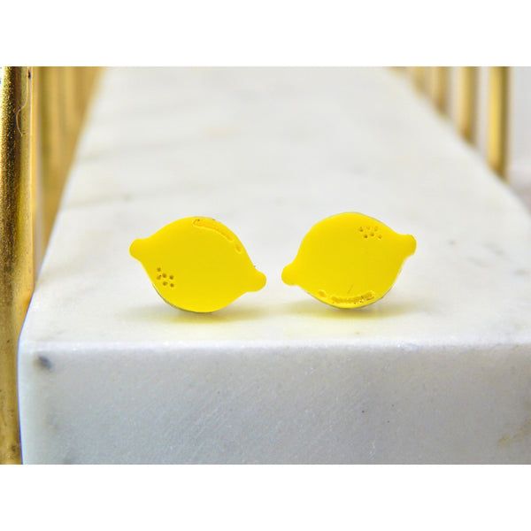 Whole Lemon Stud Earrings
