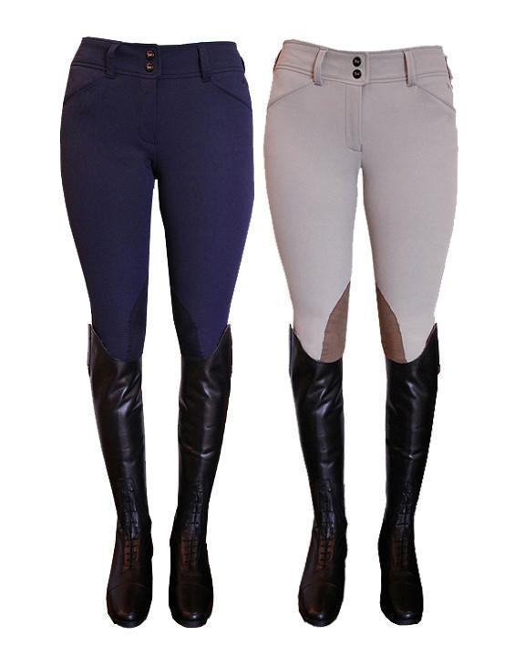 RJ Classic Prestige Gulf Collection breeches are low rise with a front zip enclosure.