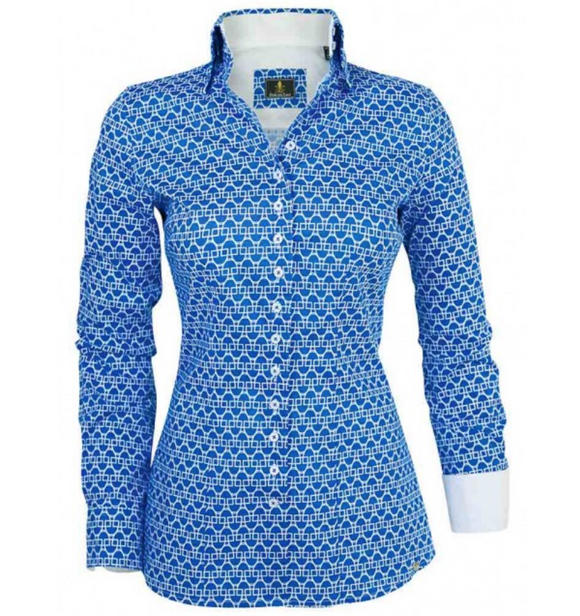 The Fior Da Liso horseback riding shirt for stylish equestrians. Is great for wearing at the shows and at the barn.