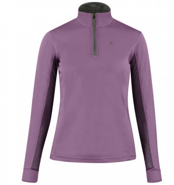 The Horze Trista long-sleeve 1/4 zip horseback riding shirt for fashionable equestrians. A great addition to any summer or fall horseback riding wardrobe.