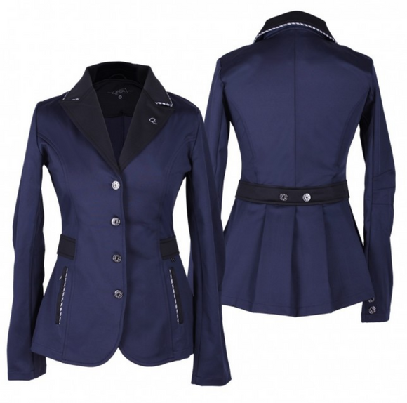 Elegant competition jacket with beautiful details and a stretch fabric. The collar and pockets are of a contrasting colour and feature a tricolour cord.