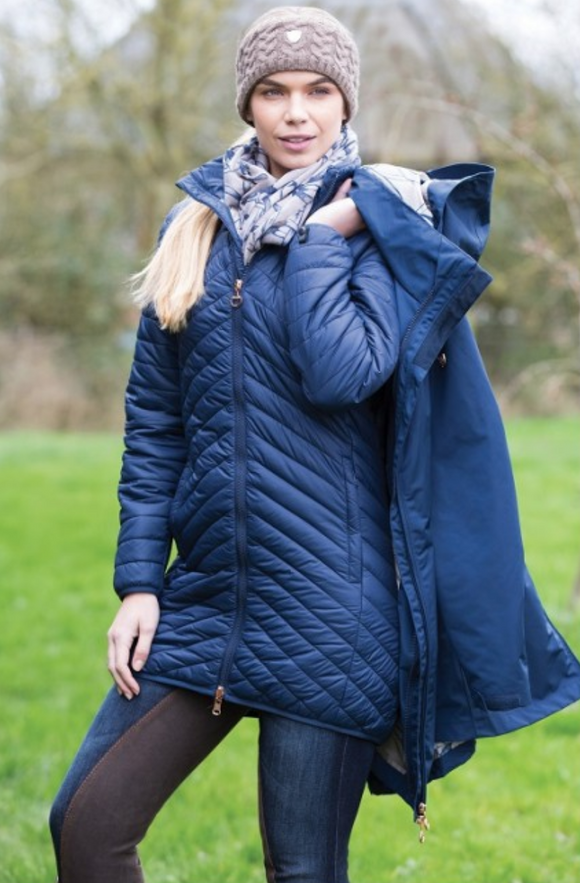 Equetech trilogy jacket for winter horseback riding. For the stylish equestrian on the go.