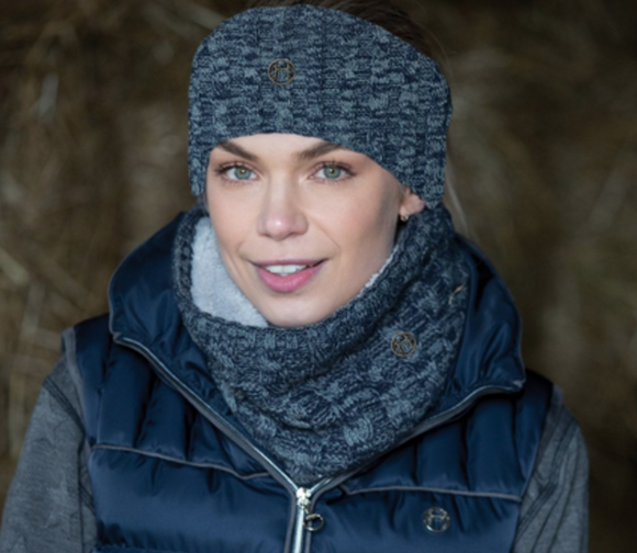 Equetech cable knit snood horseback riding scarf for stylish equestrians. These are great for winter riding.