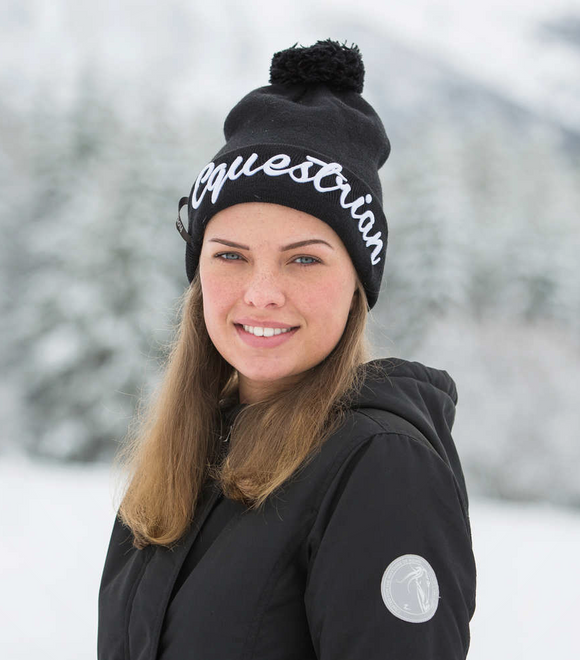 Stylish Equestrian printing identifies your passion on this warm hat.