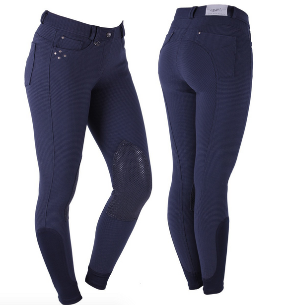 The QHP Marley winter horseback riding breeches for the fashion-forward horseback rider. These are a beautiful blue colour for fall riding.