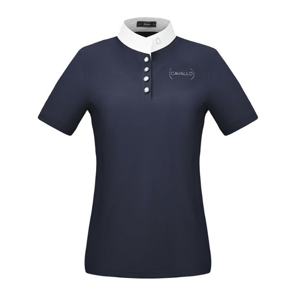 This short sleeve horseback riding shirt for competition is great for the stylish equestrian. This horseback riding competition shirt is beautifully made by Cavallo.