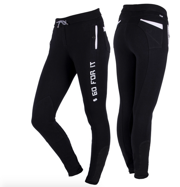 QHP Evi pull-on knee patch horseback riding pants. These breeches have a design that says