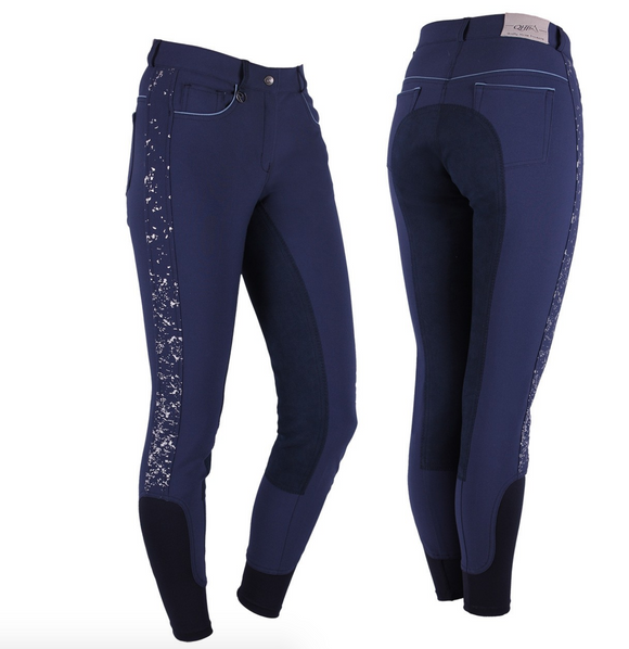 QHP Milah full-seat horseback riding pants for the fashionable equestrians. This absolutely gorgeous full seat breeches by QHP have a leather seat to keep you in the tack.