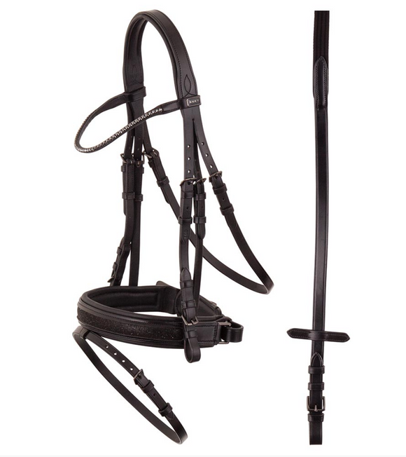 Black horse bridle for dressage equestrians. Fashionable and stylish bridle for dressage riders.