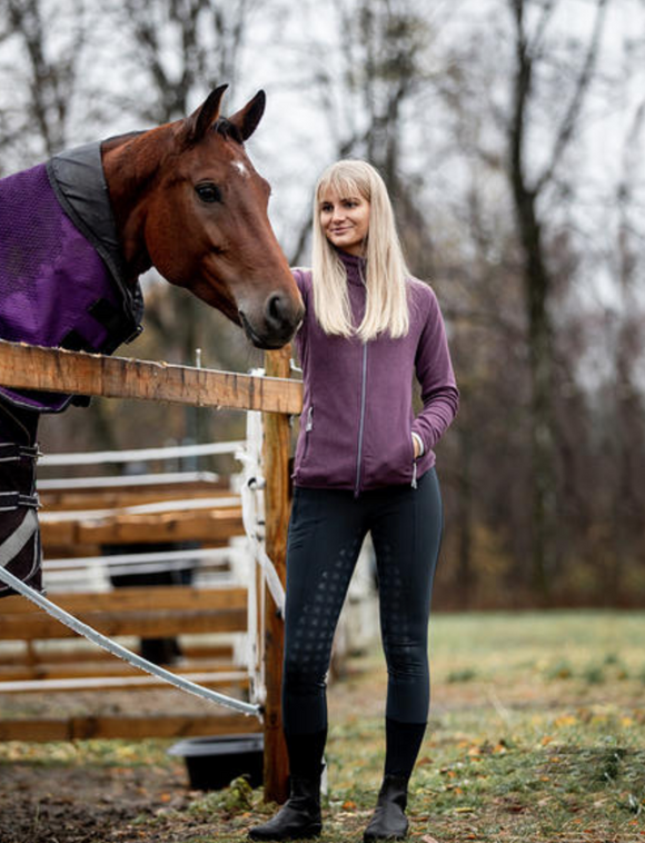 Fleece horseback riding jacket for stylish equestrians. Gorgeous purple horseback riding gear.
