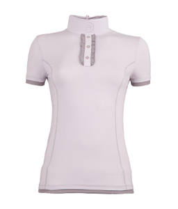 ANKY technical solutions short sleeve polo shirt for horseback riders. Fashionable riding shirt for the fashionable equestrian. The fancy show shirt for horseback riders in grey.
