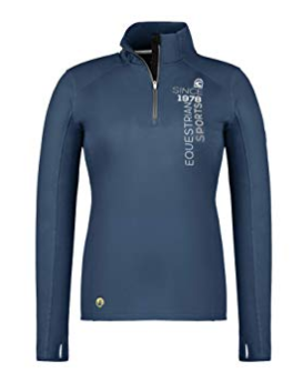 Cavallo International stylish clothing for equestrians. The hilton sweater for horseback riders is a quarter-zip long-sleeve sweater.