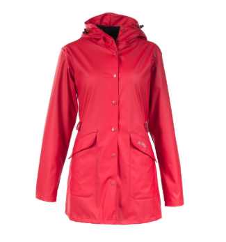 Womens rain jacket for equestrians and horseback riders. Designed to keep horseback riders dry and warm.