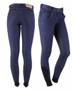 The QHP Demi leather-seat full-seat breeches for the fashion-forward equestrian.