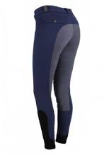 The QHP Robin full-seat breeches are a beautiful contrasting navy breech with a light blue seat.